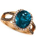 Le Vian® Chocolatier London Blue Topaz (4 ct. t.w.) and Diamond (3/8 ct. t.w.) Ring in 14k Rose Gold, Only at Macy's