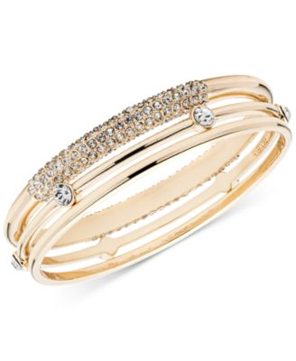 Image of Anne Klein Gold-Tone 3-Pc. Set Crystal Bangle Bracelet, a Macy's Exclusive Style