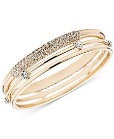 Gold-Tone 3-Pc. Set Crystal Bangle Bracelet, Created for Macy's
