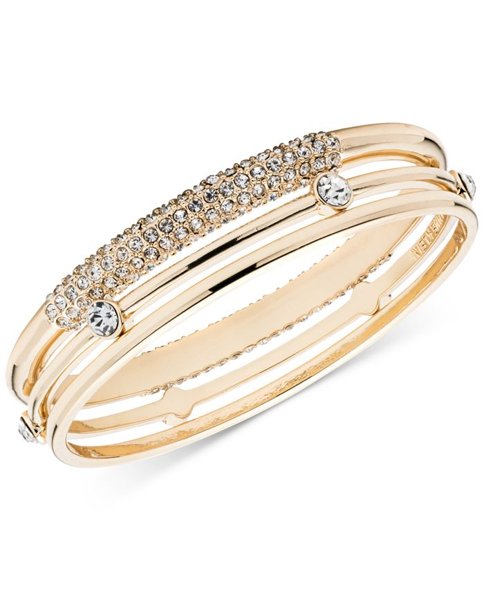 Anne Klein - Gold-Tone 3-Pc. Set Crystal Bangle Bracelets