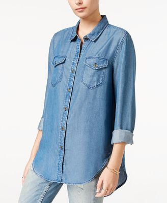 Velvet Heart High-Low Chambray Shirt