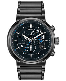 Citizen Men's Chronograph Proximity Black Ion-Plated Stainless Steel Bracelet Smartwatch 46mm BZ1005-51E