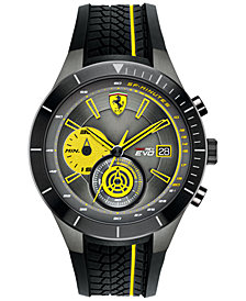 Ferrari Men's Chronograph Red Rev Evo Black Silicone Strap Watch 46mm 0830342