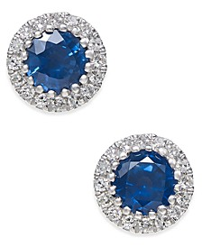 Sapphire (5/8 ct. t.w.) and Diamond (1/10 ct. t.w.) Stud Earrings in 14k White Gold (Also Available in Emerald and Certified Ruby)