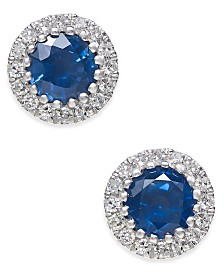 Sapphire (5/8 ct. t.w.) and Diamond (1/10 ct. t.w.) Stud Earrings in 14k White Gold