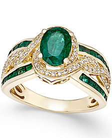 Emerald (2-3/4 ct. t.w.) and Diamond (1/3 ct. t.w.) Ring in 14k White Gold (Also Available in Ruby & Sapphire)