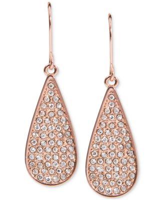 Lauren Ralph Lauren Rose GoldTone Pav Teardrop Drop Earrings