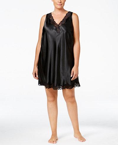 Thalia Sodi Plus Size Lace-Trimmed V-Back Chemise, Created for Macy's
