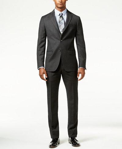 DKNY Men's Black Plaid Slim-Fit Suit - Suits & Suit Separates