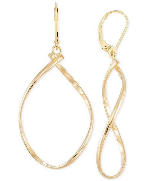 Italian Gold Polished Twist Illusion Drop Earrings in 14k Gold