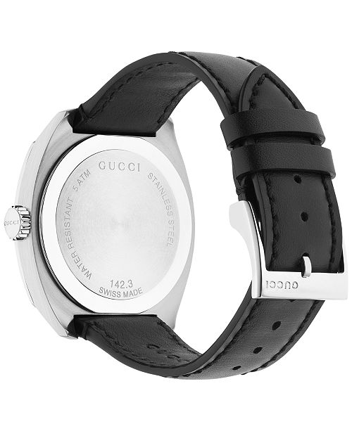 0324e721af3 ... Gucci Men s GG2570 Swiss Black Leather Strap Watch 41mm YA142307 ...
