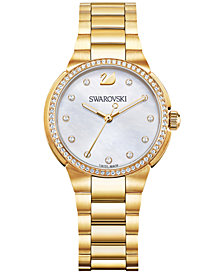 Swarovski Women's Swiss City Mini Gold-Tone Stainless Steel Bracelet Watch 32mm