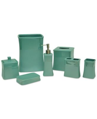 Crafted With Chip Resistant Stoneware Featuring A Fresh Aqua Tone Finished  With A Matte Pearlized Glaze, These Kensley Bath Accessories From Jessica  Simpson ...