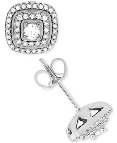 Diamond Double Halo Square Stud Earrings (1/2 ct. t.w.) in 14k White Gold