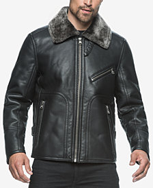 Marc New York Men's Lenox Faux-Leather Bomber with Faux-Shearling Lining