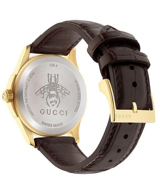 ef838009b50 ... Gucci Women s Swiss Automatic G Timeless Dark Brown Alligator Leather  Strap Watch 38mm YA126470 ...