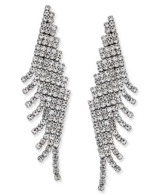 Image of Charter Club Angled Pavé Fringe Drop Earrings, Only at Macy's