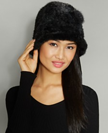 The Fur Vault Knitted Mink Fur Rosette Hat