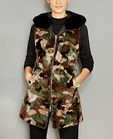 The Fur Vault Reversible Camo Mink Fur Hooded Vest