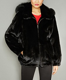 Fox-Fur-Trim Hooded Mink Fur Coat