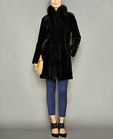 The Fur Vault Fox-Fur-Trim Mink Fur Coat