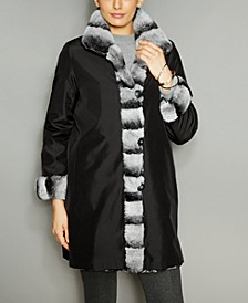 Rabbit-Fur-Trim Silk Coat