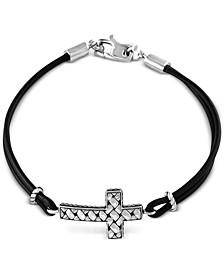 EFFY® Black Leather Cross Bracelet in Sterling Silver