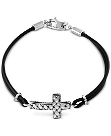 EFFY® Black Leather Cross Bracelet in Sterling Silver