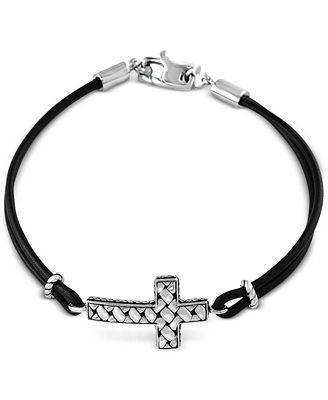 Effy Collection Effy Black Leather Cross Bracelet In Sterling