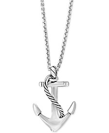 EFFY® Men's Anchor Pendant Necklace in Sterling Silver