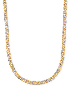 Italian Gold Two-Tone Braided Collar Necklace in 14k Yellow & White Gold