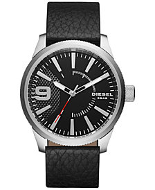 Diesel Men's Rasp Black Leather Strap Watch 46x53mm DZ1766