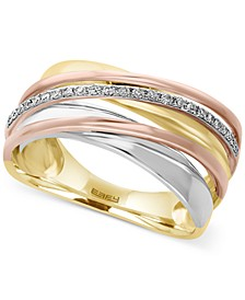 EFFY® Diamond Tri-Tone Ring (1/10 ct. t.w.) in 14k Yellow, White and Rose Gold