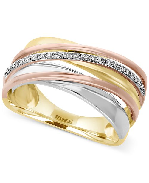 EFFY Collection EFFY® Diamond Tri-Tone Ring (1/10 ct. t.w.) in 14k Yellow, White and Rose Gold