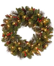 "24"" Crestwood Spruce Wreath with Silver Bristle, Cones, Red Berries and Glitter with 50 Clear Lights"