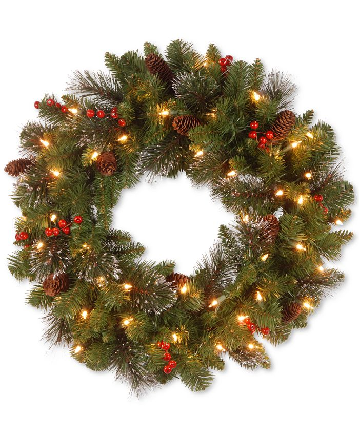 """National Tree Company - 24"""" Crestwood Spruce Wreath with Silver Bristle, Cones, Red Berries and Glitter with 50 Clear Lights"""