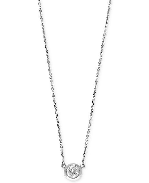 EFFY Collection EFFY® Diamond Bezel Pendant Necklace (3/8 ct. t.w.) in 14k White, Yellow, or Rose Gold