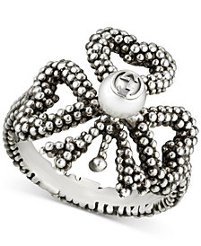 Gucci Women's Aureco Black Finished Sterling Silver Imitation Pearl Ring YBC434679001015