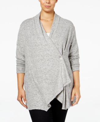 Style & Co Plus Size Marled Wrap Cardigan, Only at Macy's