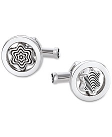 Montblanc Heritage Men's Stainless Steel and Black Lacquer Swivel Cufflinks 109992