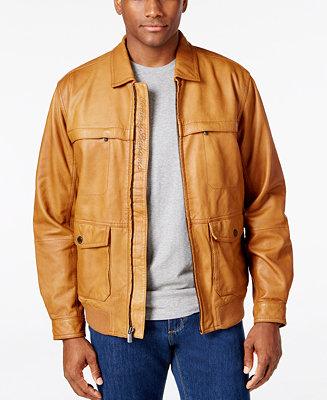 Tommy Bahama Men's Santiago Leather Aviator Jacket