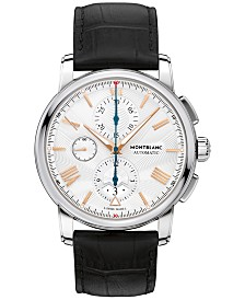 Montblanc Men's Swiss Automatic Chronograph 4810 Black Alligator Leather Strap Watch 43mm 114855