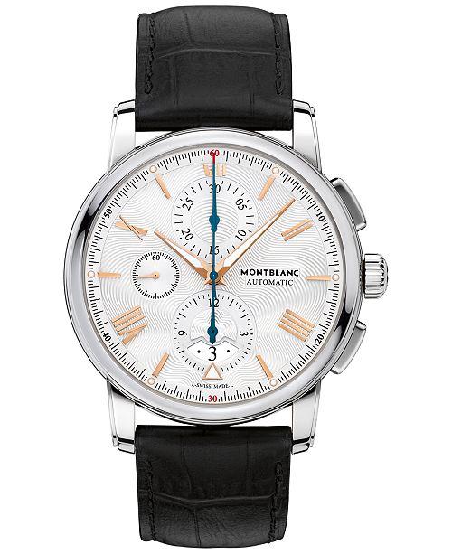 Montblanc Men's Swiss Automatic Chronograph 4810 Black Alligator Leather Strap Watch 43mm 114855