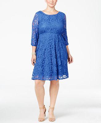 ing trendy plus size lace a-line dress - dresses - plus sizes - macy's