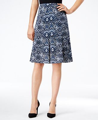 NY Collection Petite Printed Pull-On A-Line Skirt - Skirts - Women ...