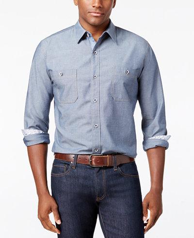 Weatherproof vintage men 39 s denim chambray shirt classic for Weatherproof vintage men s lightweight flannel shirt