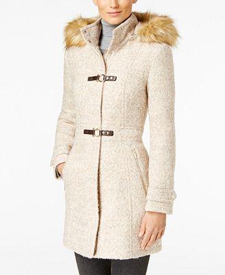 Ivanka Trump Faux-Fur-Trim Buckled Coat - Coats - Women - Macy's