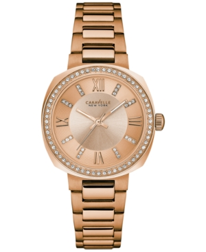 Caravelle New York by Bulova Women's Rose Gold-Tone Stainless Steel Bracelet Watch 32mm 44L224