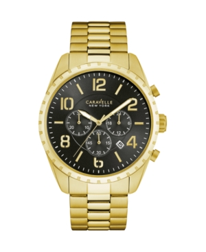 Caravelle New York by Bulova Men's Chronograph Gold-Tone Stainless Steel Bracelet Watch 44mm 44B114