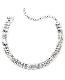 Thalia Sodi Silver-Tone Rhinestone Choker Necklace, Created for Macy's